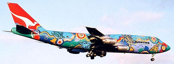 Aboriginal art on plane - Nalanji Dreaming