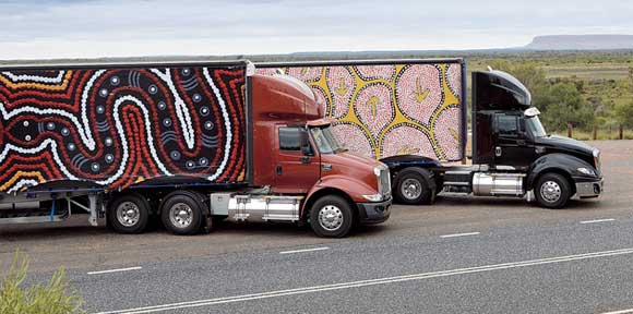 Aboriginal art on trucks
