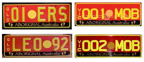 Aboriginal number plates of Queensland and Victoria
