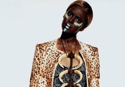 Fashion model Beyonce wearing blackface for a photo shoot.