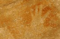 Aboriginal hand stencils on a rock; Forrest Island