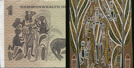 Australian One-Dollar bill showing parts of the painting of David Malangi.