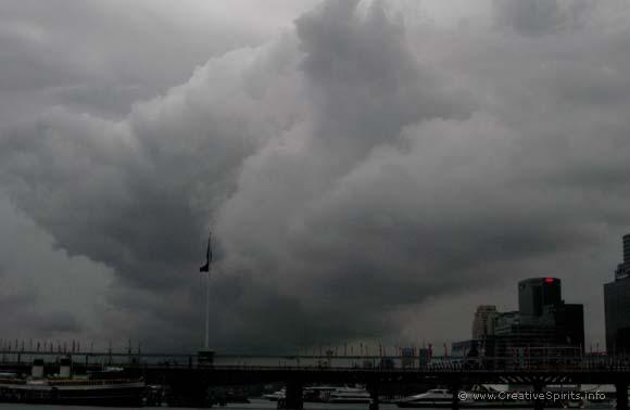 Dark storm clouds over Sydney harbour