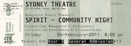 Ticket for community night of Bangarra Dance Theatre