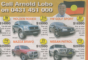 Aboriginal ad from a newspaper