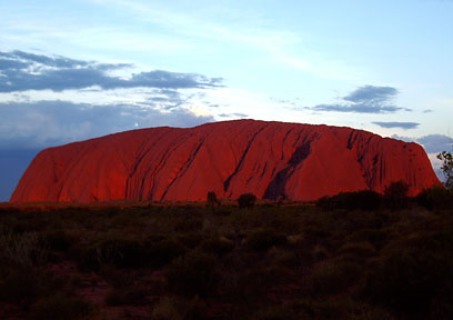Uluru close to sunset.