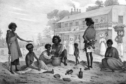 An old image of Aboriginal people on George Street in Sydney.