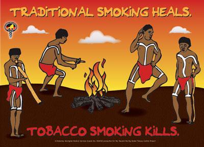 Anti-smoking poster saying: Traditional smoking heals - Tobacco smoking kills.