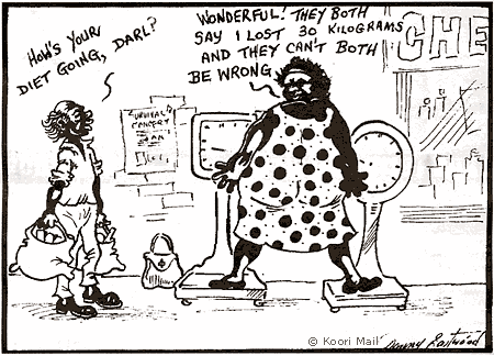 An obese black woman standing with each leg on a scale declaring: Wonderful! They both say I lost 30 kg and they can't both be wrong.
