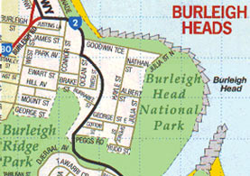 Map to Burleigh Heads National Park.