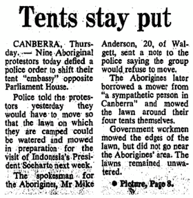 A news clipping about the Aboriginal Tent Embassy.
