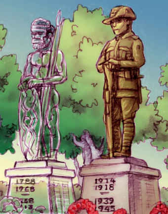 A drawing shows the silhouette of an Aboriginal war memorial next to a fully visible memorial for a soldier.