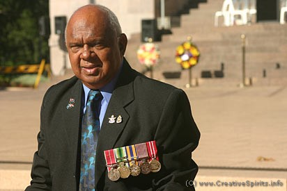 Uncle Harry Allie at the Aboriginal Anzac commemoration in Sydney.