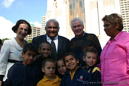 NSW Governor Prof. Marie Bashir and Tom Calma with school children and teacher.