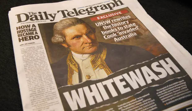 The cover page of the Daily Telegraph prominently features the word 'whitewash'.
