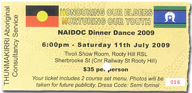 Ticket for the NAIDOC Ball