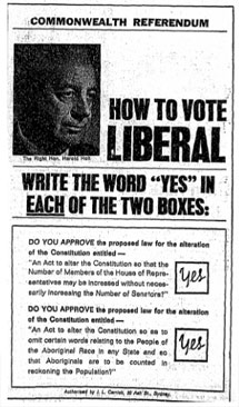 1967 referendum advertisement of the Liberal Party asking voters to vote 'yes' for both questions.