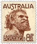 Stamp: 8 1/2d Gwoya Jungarai, often known as 'One Pound Jimmy'.