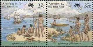 Two scenes showing a naked Aboriginal family watching ships arrive in a cove.