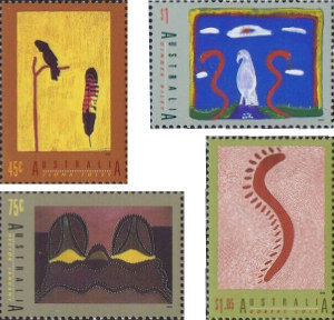 Four stamps show paintings by Aboriginal artists.