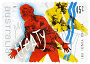 Stamp commemorating Yothu Yindi's song 'Treaty'.