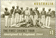 A group shot of the Aboriginal cricket players on the cricket ground.