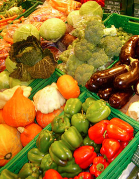 Colourful vegetables in a store.