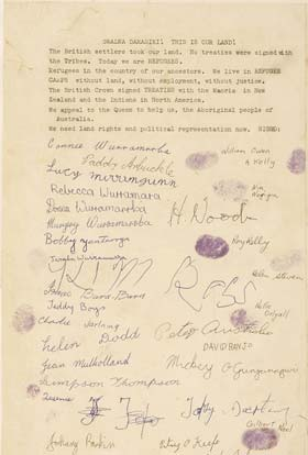 A sample page of the Larrakia petition with signatures and thumb prints.