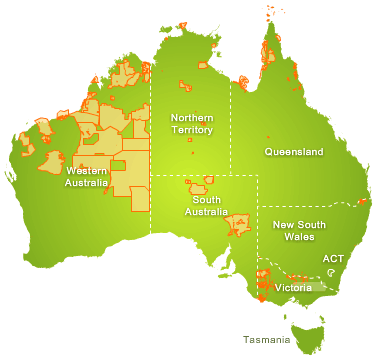 Map of land where native title has been determined.