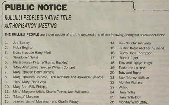 Public notice listing many Aboriginal ancestors eligible to be a party of a native title claim.