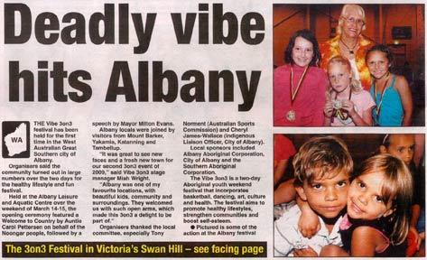 Article heading: 'Deadly vibe hits Albany'