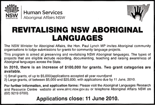 Newspaper clip of a grant advert for the revitalising of NSW Aboriginal languages.