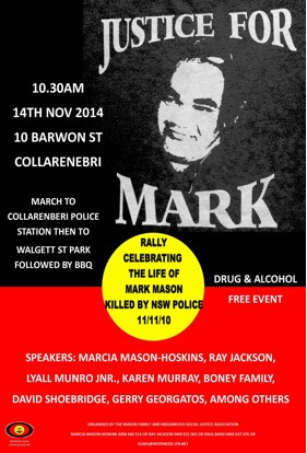 A flyer calling for 'Justice for Mark' against the Aboriginal flag.