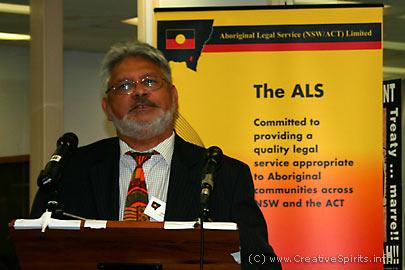 Gerry Moore holding a speech.