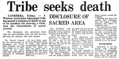 Newspaper headline: Tribe Seeks Death