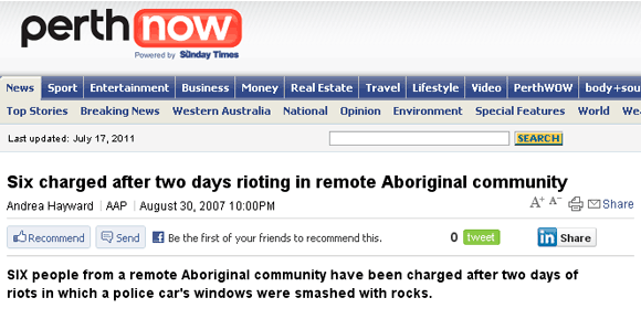 Newspaper article headline.