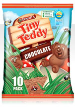 A packet of Tiny Teddies cookies.