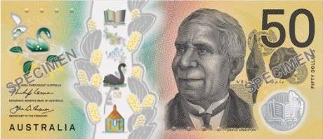 Detail of a 50-dollar note showing David Unaipon.