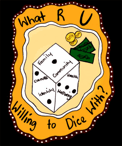What are you willing to dice with - a dice showing personal and community values.