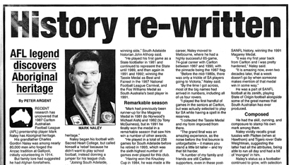 Newspaper clipping reading: History rewritten. AFL legend discovers Aboriginal heritage.