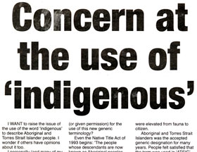 Headline: Concern at the use of 'indigenous'.