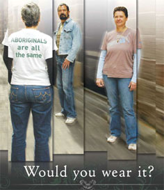 Woman wearing T-shirt which reads 'Aboriginals are all the same', with caption: Would you wear it?