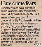 Newspaper clipping. Headline: 'Hate crime fears'.