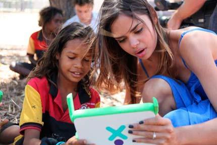 Samantha Harris as ambassador for One Laptop per Child Australia.