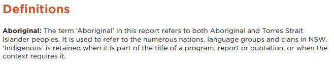 The definition of 'Aboriginal' in a report includes Torres Strait Islanders.