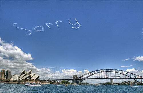 'Sorry' air writing above Sydney harbour.