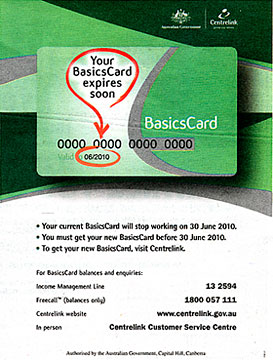Government ad advising people that their Basics Card is due for renewal.