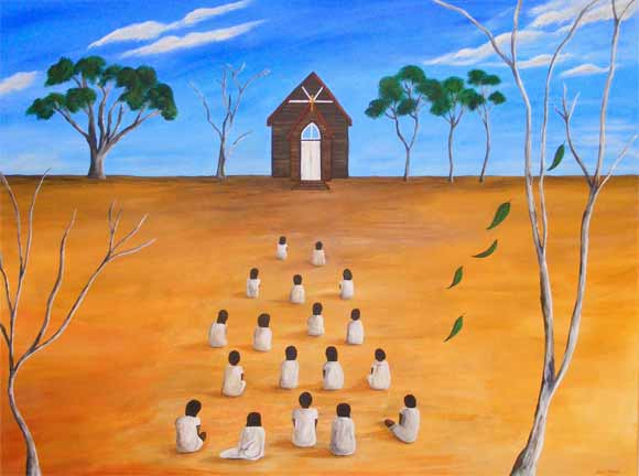 A group of Aboriginal children dressed in white sits in front of a church.