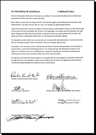 Statement of Aboriginal elders against the Northern Territory Intervention