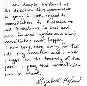 The Mayer of Randwick City Council (Sydney) apologises for the harm and hurt done to Aboriginal people in the past. Elizabeth Hyland is deeply saddened by the government's direction with reconciliation. She is very sorry for the role of her ancestors.